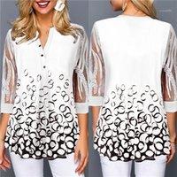 Floral blusas manga 1/2 Pullover cuello en V de encaje camisas de la manera más el tamaño de tapas de las mujeres ropa suelta para mujer diseñador