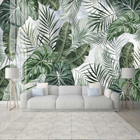 Custom Photo 3D Mural Wallpaper Tropical Plant Leaves Wall D...