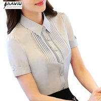 High quality summer professional Hollow Out short-sleeve chiffon shirt fashion work wear slim blouse top plus size S to 4XL