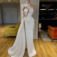 Apliques un hombro vestidos de baile 2020 vestidos de noche con pliegues laterales de Split Sexy Celebrity Dress Vestidos de boda de la alfombra roja