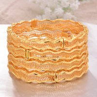 ANNAYOYO 4Pcs lot Ethiopian Africa wave Gold Color Bangles for Women Bride Bracelet African Wedding Jewelry Middle East Items