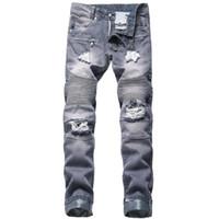 JEWUTO 2020 Мужских джинсы Марк Высокого качества отверстия прямого Moto байкерских джинсы мужские джинсовые брюки для черного синего
