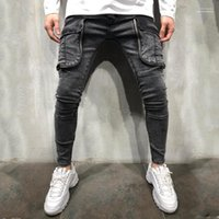 Джинсы Мода Большой Карманы Щитовые Zipper Fly Мужские джинсы дизайнер Casual Мужчины Одежда Hole Щитовые Mens конструктора