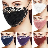 Женской мода Face Mask Кружево Украшение пыле Anti-UV лицо Маска моющегося хлопок дышащего рот Обложка Дама Открытая Прочная маска для лица
