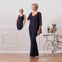 2020 Costumes Pant formelles pour les mères mariée personnalisés Taille Plus Mère du marié robes dentelle femmes bleu marine robes robes de soirée de soirée