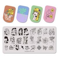 Piastre in acciaio inox Stampaggio Bella Ragazza E Fiore Donne Butterfly Immagine Stencil di arte del chiodo dello stampino Stamp Mold Template
