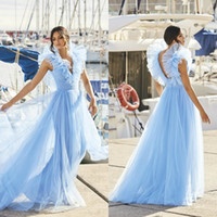 Sky Blue Evening Dresses Deep V Neck Ruffles A Line Prom Dre...
