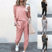 Women Tracksuits Two Pieces Set Loose Solid Colour Long Slee...