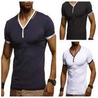 Yaz Basit Erkek Short Sleeve Tees Erkek Düğmeleri Tasarım Temel Tee Spor V Tshirts Tops