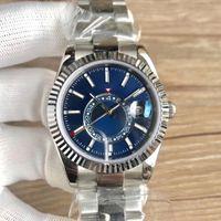 mens moda del reloj miran importados 2813 cielo automática 316L 42mm reloj mecánico mens 50M buceo luminosa de zafiro de los hombres de doble huso horario