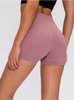 Las mujeres de cintura alta Yoga Pantalones cortos de secado rápido elástico Running Short teléfono de bolsillo empuja hacia arriba la cadera entrenamiento de la aptitud del entrenamiento corto Legging