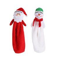 Sevimli Karikatür El Havlusu Noel Baba Kardan Adam Nakış Handcloth Noel Emici Bezi Noel Yılbaşı Dekorasyon