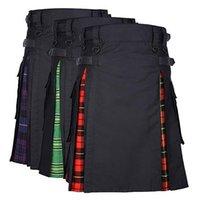 2020 New Men cintura ajustável Casual Saia Pant Sólidos Plaid Punk Hip-hop Avant Garde Homens Moda Scotland Calças escocês Kilt