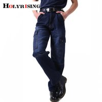 Holyrising Men Multi Pocket Cargo Jeans Men Classical Jean High Quality Male Casual Pants Plus Size Cotton Denim Trousers 18770