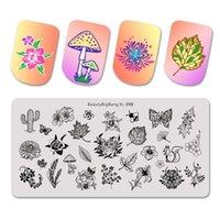 Beautybigbang مسمار جديد ختم لوحات الزهور الطبيعية موضوع السنجاب الصبار طباعة صورة 12 * 6cm ومسمار الفن استنسل قالب قالب