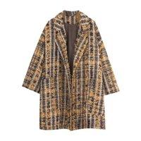 Kadın Yün Karışımları Belki U Kadın Dış Giyim Ceket Çentik Yaka Cebi Tüvit Sarı Uzun Kollu Kış C0220