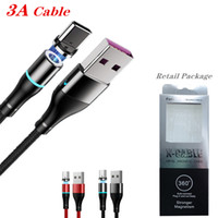 الكابل المغناطيسي نوع C / Micro USB الكابلات 3a شاحن سريع سلك سلك كابل شحن سريع لسامسونج S20 note10 مع حزمة البيع بالتجزئة