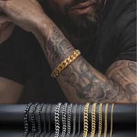 Argent Or acier inoxydable Mens Bracelets Miami Cuban Chain Link Bracelet pour Hommes Hip Hop Jewlery