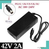 36V carregador RCA 10mm plugue lotus conector saída 42V 2A elétrico bicicleta de bicicleta lítio bateria de bateria trotinette