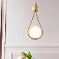 Modern Glass Wall Lamp Gold Wall Mounted Sconces,Mid-Century Bedroom Bedsides Water Drop Wall Light Home Decoration