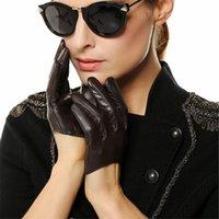 Пять пальцев перчатки овчины короткий дизайн женщин натуральная кожа LG0003