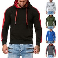 Contrast Color Drawstring Pullover Tops 20FW Casual Men Hoodies Long Sleeve Slim Fit Hooded Sweatshirt with Pocket
