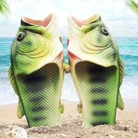 Aile Komik Balık Ayakkabı Kadınlar Büyük Beden 32-47 Yüksek Kalite PVC Kız Yaz Ayakkabı Plaj Terlik Kadın Slaytlar
