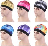 Nuovo Tie-dye Silky Dome Cap larga banda elastica parrucca Chemo cappello casco del motociclista Liner Beanie Turbante Accessori di moda capelli
