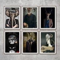 Аннотация Животные Скандинавские плакаты и печать лев слон зебры голова оленя искусства стены холстины декора Картины для гостиной