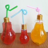 Light Bulb Beverage Bottle Drinkware Milk Tea Bottles Plastic Juice Drink Cups Creative Luminescence Cup With Straw Home Bar Tool CY BH2134