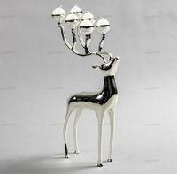 Banhado a prata veados candelabro castiçal forma de metal, 6-braços com 6pcs velas gratuitos, vara velas decorativas
