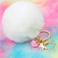 Tier Einhorn Keychain Frauen Pompom Faux-Kaninchen-Pelz-Kugel-Schlüsselanhänger Stern-Glascharme-Pom Pom Schlüsselanhänger Tasche New