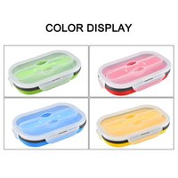 High Folding Silicone Bento Box Lunch Box Crisper Retractable Square Fast Boxes with Fork LG66