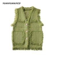 Kadın Yelek Yuanyuanjyco Sonbahar Ekose Püskül Kolsuz Hırka Kadın Moda Streetwear Yeşil Siyah Beyaz Pembe Kazak Kadın Kazak 20