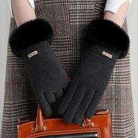 Зимние теплые Женские перчатки Открытого утолщенной перчатка Plus Velvet Открытого Ladies Теплые перчатки Симпатичный Велоспорт перчатка