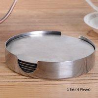 6 En la Ronda 1 Posavasos antideslizante de la taza de café de soporte amortiguador de acero inoxidable resistente al calor Mantel Coaster la estera de tabla del vajilla Pad BH1126 BC