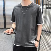 Trend Summer Solid Color Tee Short Sleeve Clothing Designer Male Loose Top T-shirt Man Round Neck Casual T-shirt Fashion