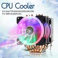 6 Heatpipe CPU Cooler double 4 broches RVB Ordinateur de refroidissement du boîtier Ventilateur PC Quiet Dissipateur Pour Intel ventilateurs 775/1150/1151/1155/1156 / 1366AMD