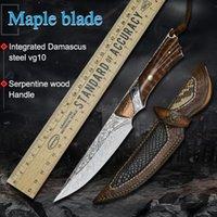 Damasco VG10 dell'acciaio inossidabile attrezzo di campeggio di caccia della lama diritta tattica autodifesa coltello strumento artigianale strumento fisso lama esterna