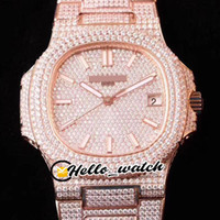 DMF New Date 5719 / 10G-010 Gypsophila Dial Cal.324 S C Automation Mens Watch Rose Gold Все бриллиант Браслет Роскошные PPHW Часы Hello_Watch