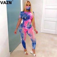 VAZN 2020 STIE Boya Renkli Sexy yazdır Tozluklar 3 adet Seti ile Casual Plaj Giysileri Bayan Kadınlar T200817 ayarlar Maske Tops