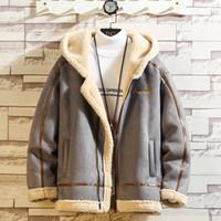 남성 스포츠웨어 운동복 남성 푹신한 양털 후드 코트에 대한 폭격기 재킷 남성 겨울 두꺼운 따뜻한 양털 테디 코트
