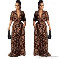 Mujer Estilo Moda Ropa cuello en V manga mitad atractivo de la ropa ocasional de las mujeres del leopardo de Desinger Maxi vestidos de otoño