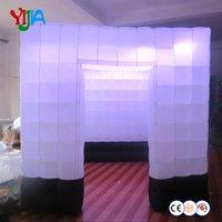 Beyaz Ve Alt Satılık Şişme Photo Booth ile Şerit LED At The Top Kullanılmış Düğün DJ Photo Booth az 2 Siyah Satırlar