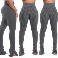 Ultra Stretchy femmes Legging Pantalons simple couleur unie en tricot longueur de plancher Pantalon skinny femme Vêtements Designer 2020
