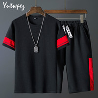 Fashion Shorts Set Men 2020 Summer 2pc Tracksuit Short SweatShirt + Shorts Sets Beach Mens Casual Tee Shirts Set Sportswears