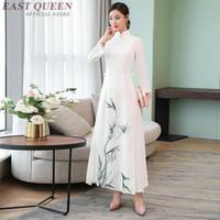Blanc Vietnam cheongsam Robe style chinois Ao Dai Vietnam traditionnelle robe qipao Robe Vêtements Ao Dai TA1752
