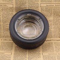 Glas Gummi Reifen Aschenbecher Zylinder Shatterproof Zigarre Gläser Aschenbecher Round Protect Raucher Werkzeuge Creative Glass Aschenbecher 15.4 * 6cm AAD1919
