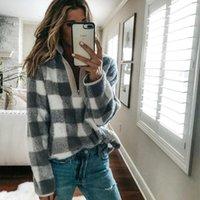 Frauen-beiläufige lange Hülsen-Plaid-beiläufigen Reißverschluss, Straße, Outdoor, etc Sweater Vorder Outwear Mantel