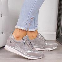 Scarpe da ginnastica oro Zipper piattaforma Formatori pattini casuali delle donne Lace-Up Tenis Zapatos De Mujer Womens Sneakers